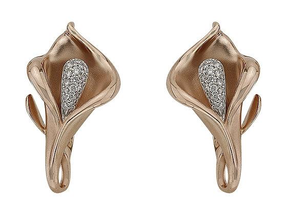Серьги цветы каллы из золота с бриллиантами