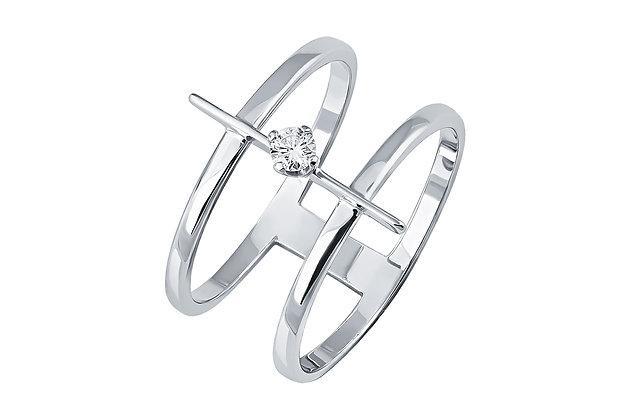 Двойное кольцо с бриллиантом