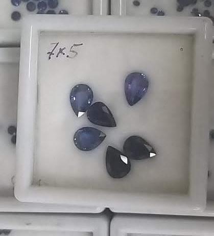 """Натуральные синие сапфиры """"Груша"""" 7*5 мм"""