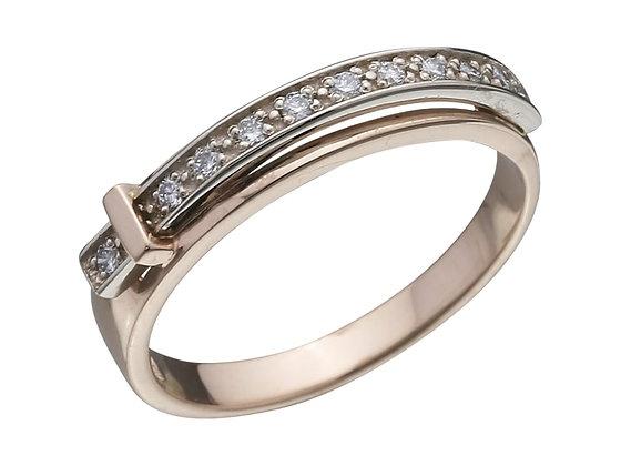 Золотое кольцо в виде ремешка