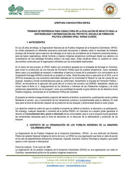 TERMINOS DE REFERENCIA PARA CONSULTORIA DE LA EVALUACIÓN DE IMPACTO PARA LA SOSTENIBILIDAD Y SISTEMA