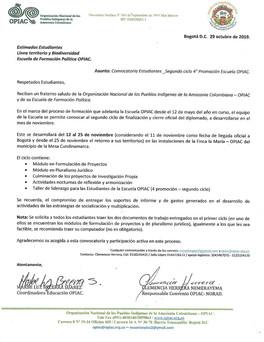 CONVOCATORIA 2° CICLO, DE LA 4° PROMOCIÓN 2019.