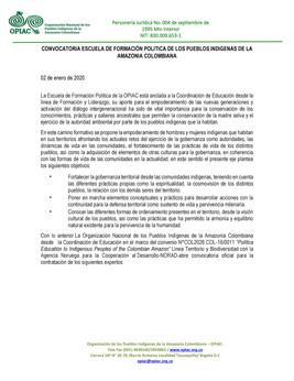 CONVOCATORIA ESCUELA DE FORMACIÓN POLÍTICA DE LOS PUEBLOS INDÍGENAS DE LA AMAZONÍA COLOMBIANA