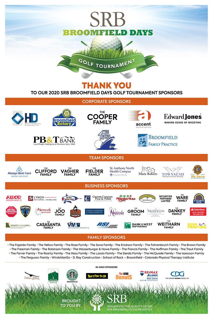 2020 SRB Golf Tournament Sponsors