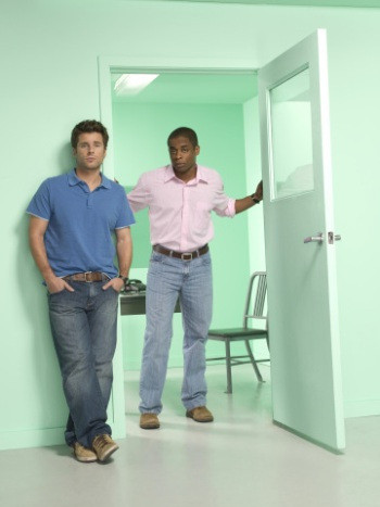 "PSYCH -- Pictured: (l-r) James Roday as Shawn Spencer, Dule Hill as Burton ""Gus"" Guster -- USA Network Photo: Matthias Clamer"