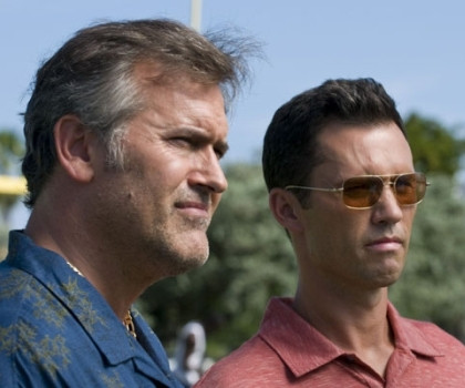 """Bruce Campbell and Jeffrey Donovan in """"Burn Notice."""""""