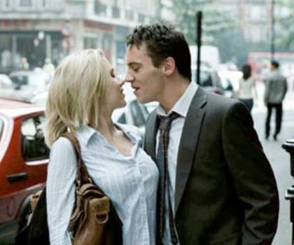 "Scarlett Johansson and Jonathan Rhys Meyers in ""Match Point."""