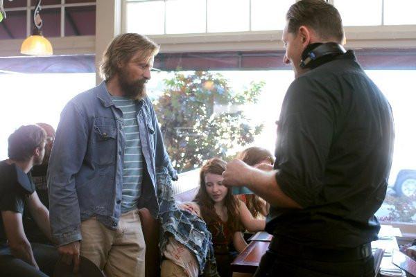 "Viggo Mortensen with cast and director Matt Ross making ""Captain Fantastic."""