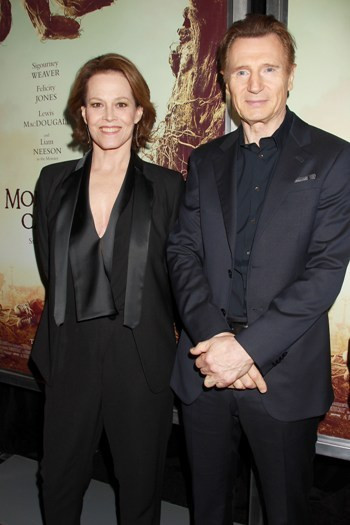 """-  New York, NY - 12/7/16 -The New York Premiere of """"A Monster Calls"""" . The Film stars Liam Neeson and Sigourney Weaver   - Pictured:  Sigourney Weaver and  Liam Neeson - Photo by: Dave Allocca/Starpix -Location: AMC Loews Lincoln Square 13"""