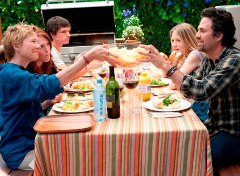 "Annette Bening, Julianne Moore, Josh Hutcherson, Mia Wasikowska and Mark Ruffalo in ""The Kids Are All Right."""