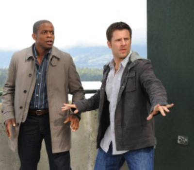 "PSYCH -- ""Extradition BC"" Episode 4002 -- Pictured: (l-r) James Roday as Shawn Spencer, Dule Hill as Gus Guster -- USA Network Photo: Alan Zenuk"
