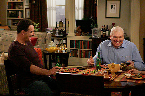 """""""Dad's Visit"""" -- Much to Audrey's dismay, Roy (Brian Dennehy, right), Jeff's (Patrick Warburton, left) chauvinist father extends his visit after spraining his ankle, on RULES OF ENGAGEMENT, Monday, March 23 (9:30-10:00 PM, ET/PT) on the CBS Television Network. Photo: Monty Brinton/CBS ©2008 CBS Broadcasting Inc. All Rights Reserved."""