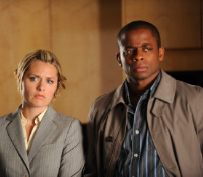 "PSYCH -- ""Extradition BC"" Episode 4002 -- Pictured: (l-r) Maggie Lawson as Juliet O'Hara, Dule Hill as Gus Guster -- USA Network Photo: Alan Zenuk"
