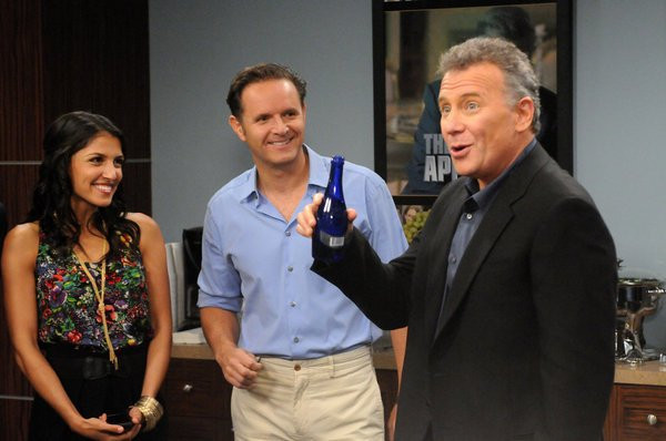 """THE PAUL REISER SHOW -- """"The Father's Occupation """" Episode 104 -- Pictured: (l-r) Nazneen Contractor as Kuma D'Bu, Mark Burnett as Himself, Paul Reiser as Paul -- Photo by: Michael Yarish/NBC"""