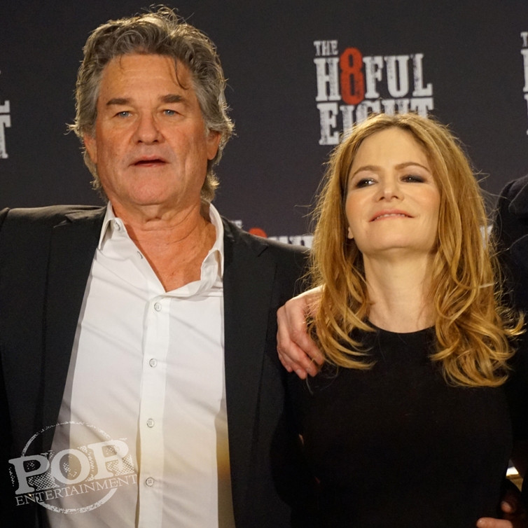 """Kurt Russell and Jennifer Jason Leigh at the New York Press Conference for """"The Hateful Eight."""" Photo copyright 2015 Brad Balfour."""