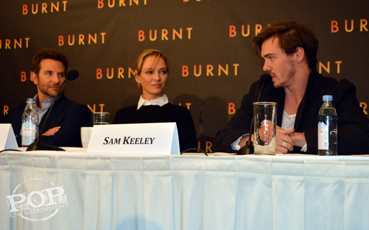 Bradley Cooper, Uma Thurman and Sam Keeley at the New York press conference for Burnt. Photo ©2015 Jay S. Jacobs and Brad Balfour.  All rights reserved.