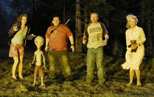 "Kristen Wiig, Nick Frost, Simon Pegg and  Blythe Danner in ""Paul."""