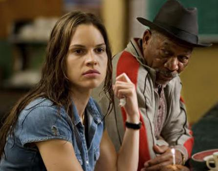 "Hilary Swank and Morgan Freeman in ""Million Dollar Baby."""