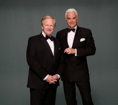 """THE NATIONAL DOG SHOW PRESENTED BY PURINA -- Pictured: """"The National Dog Show Presented by Purina"""" 2016 (l-r) Hosts David Frei and John O'Hurley -- (Photo by: Chris Weeks/"""