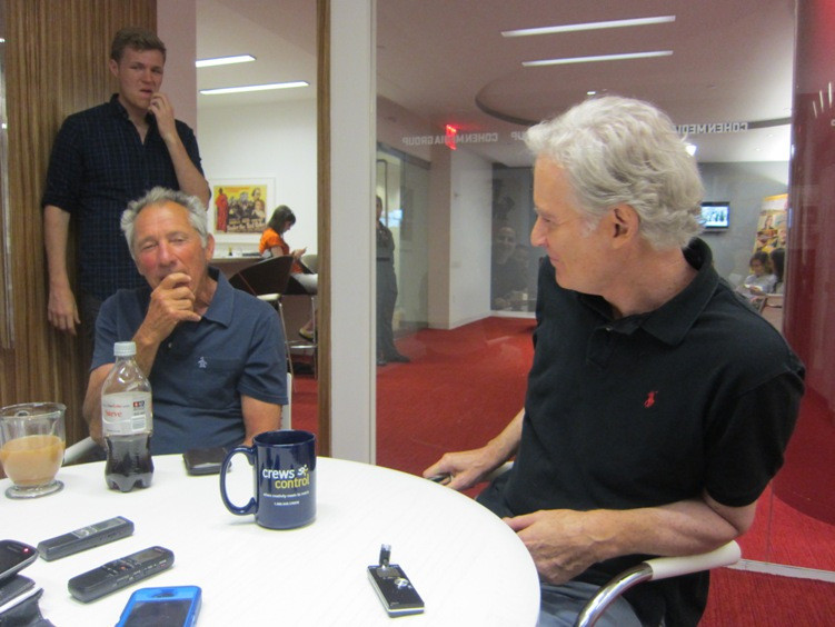 """Israel Horovitz and Kevin Kline discuss """"My Old Lady"""" at Cohen Media Group in New York."""