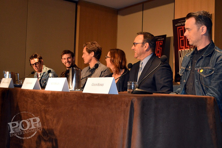 "Johnny Knoxville, Alex Pettyfer, Michael Shannon, Liza Johnson, Kevin Spacey and Colin Hanks at the New York Press Conference for ""Elvis & Nixon"" at the Conrad New York April 18, 2016. Photo copyright 2016 Jay S. Jacobs."