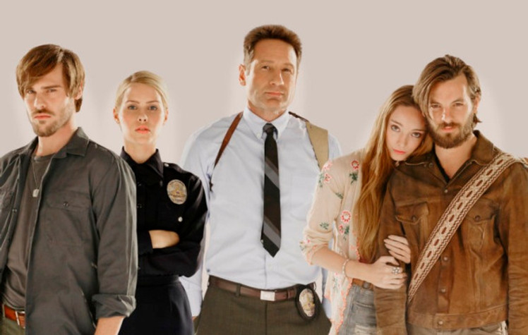 Grey Damon, Claire Holt, David Duchovny, Emma Dumont and Gethin Anthony in AQUARIUS.