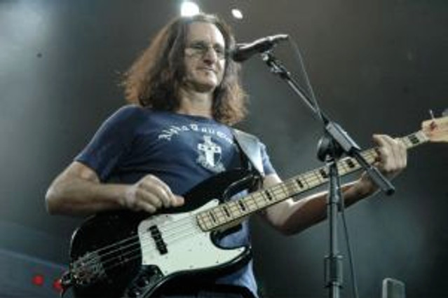 Geddy Lee of Rush in concert.