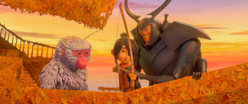 (l-r.) Monkey (voiced by Academy Award winner Charlize Theron) watches as Beetle (voiced by Academy Award winner Matthew McConaughey) teaches Kubo (voiced by Art Parkinson) how to fish with a bow and arrow in animation studio LAIKA's epic action-adventure KUBO AND THE TWO STRINGS, a Focus Features release. Credit: Laika Studios/Focus Features