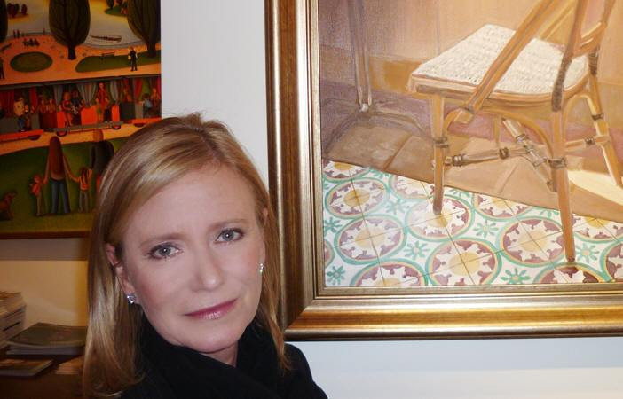 Eve Plumb at her New York art gallery showing.
