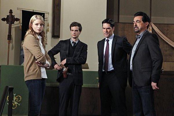 "Rachel Nichols, Michael Gray Gubler, Thomas Gibson and Joe Mantegna in ""Criminal Minds."""