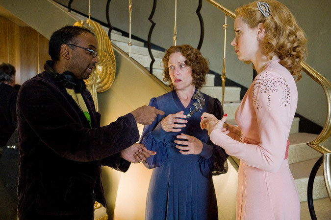 "Director Bharat Nalluri, Frances McDormand and Amy Adams making ""Miss Pettigrew Lives For a Day."""