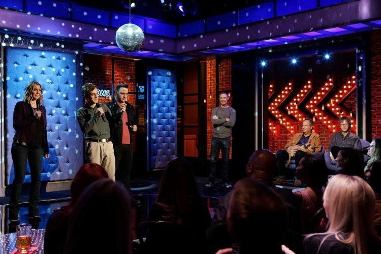 "FIRST IMPRESSIONS -- ""Jon Lovitz"" Episode 102 -- Pictured:  (l-r) Amy Phillips, Ryan Goldsher, Frank Garcia-Hejl, Freddie Prinze Jr., Jon Lovitz, Dana Carvey -- (Photo by: Joseph Viles/USA Network)"