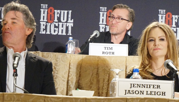 """Kurt Russell, Tim Roth and Jennifer Jason Leigh at the New York Press Conference for """"The Hateful Eight."""" Photo copyright 2015 Brad Balfour."""