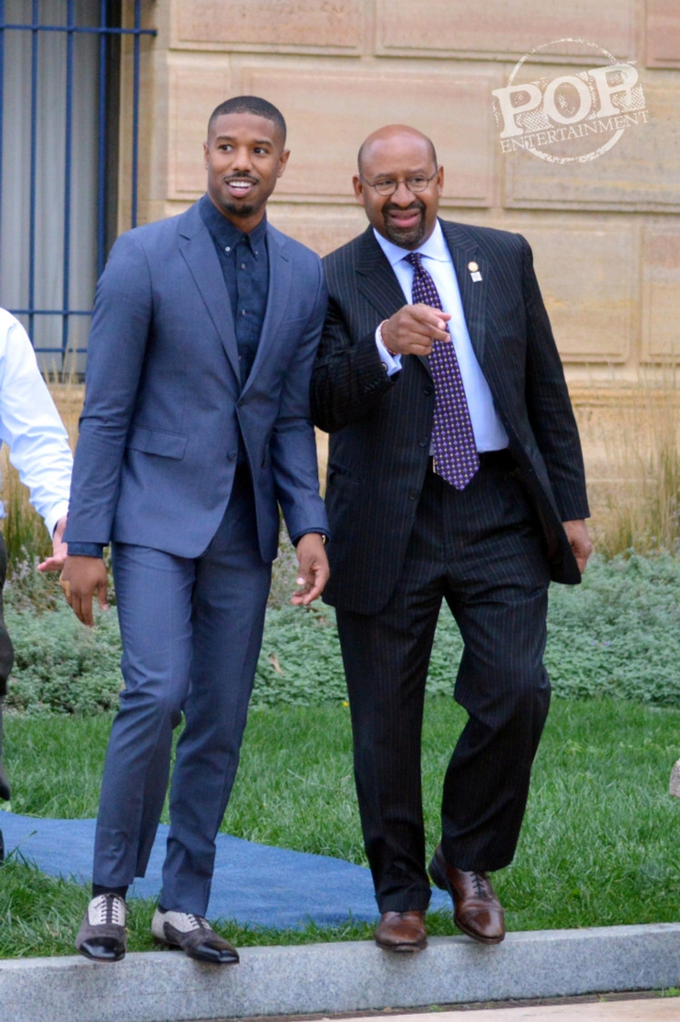 "Michael B. Jordan and Mayor Michael Nutter at the Philadelphia press conference for ""Creed"" on the steps of the Philadelphia Museum of Art. Photo copyright 2015 Deborah Wagner."