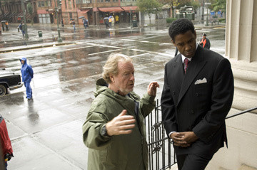 Denzel Washington and and director Ridley Scott making American Gangster