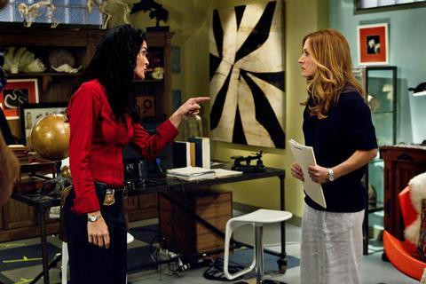 "Angie Harmon and Sasha Alexander in ""Rizzoli and Isles."""
