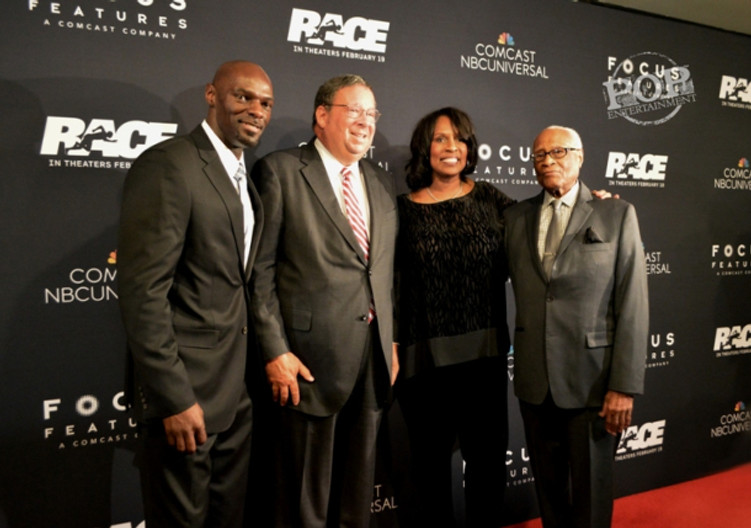 Olympic medalist  Anthuan Maybank, Comcast Exec David L. Cohen, Jesse Owens' granddaughter Gina Strachan and Olympic medalist Herb Douglas at the Philadelphia premiere of Race at the Prince Music Theater - February 18, 2016.  Photo ©2016 Deborah Wagner.