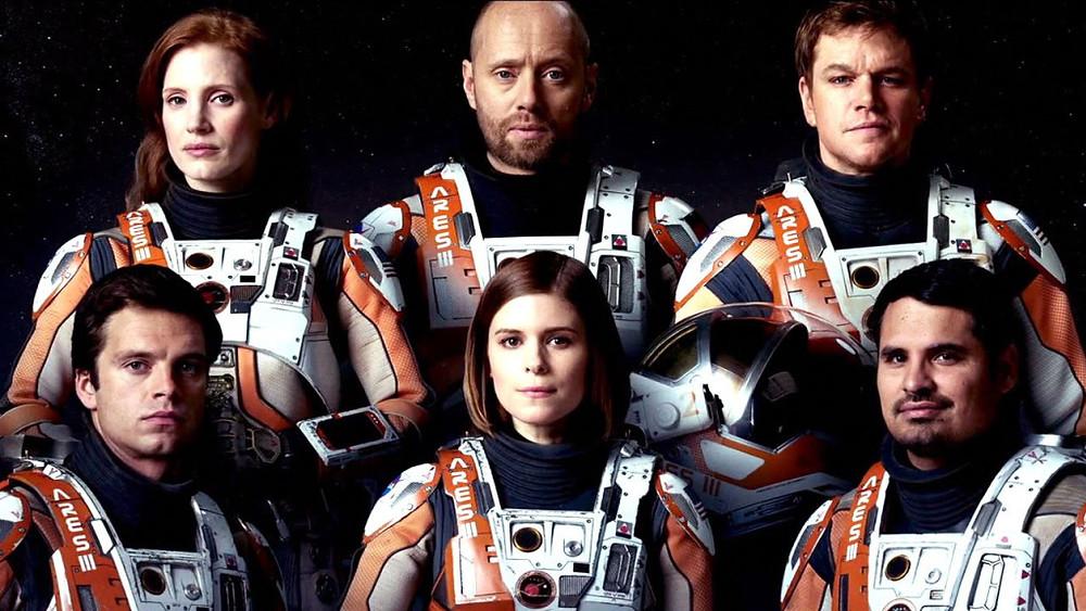 "Sebastian Stan, Jessica Chastain, Aksel Hennie, Kate Mara, Matt Damon and Michael Pena (l to r) in ""The Martian."""