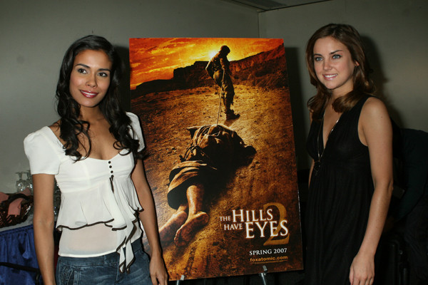 Feb. 24. 2007:Daniella Alonso, and Jessica Struop at the green room before heading into the Special Events Hall for Q&A with fans for the Hill Have Eyes II during New York ComicCon 2007 located at the Jacob Javits Center. credit : Roger Wong/INFGoff.com Ref :Infusny-12