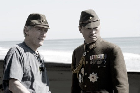 """Director Clint Eastwood and Ken Watanabe making """"Letters from Iwo Jima."""""""