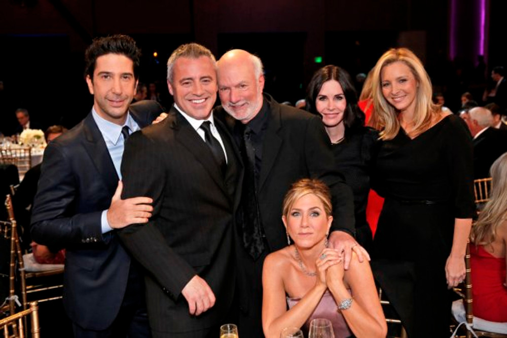 MUST SEE TV: AN ALL-STAR TRIBUTE TO JAMES BURROWS -- Pictured: (l-r) David Schwimmer, Matt LeBlanc, James Burrows, Jennifer Aniston, Courteney Cox, Lisa Kudrow -- (Photo by: Chris Haston/NBC)