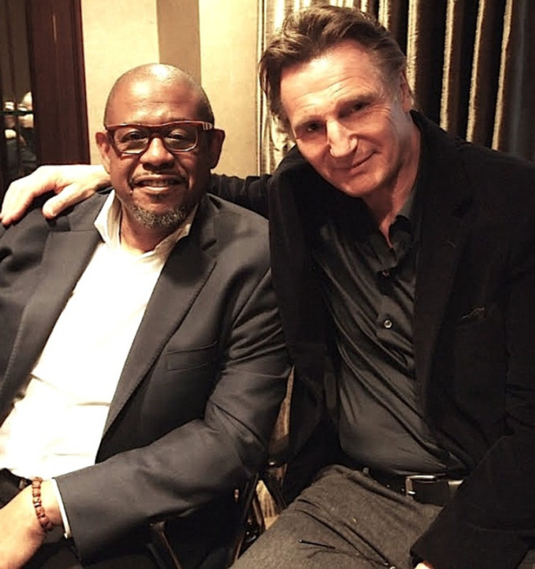 """Liam Neeson and Forest Whitaker at the """"Taken 3"""" press day at the Essex House Hotel, New York.  Photo © 2015 Brad Balfour. All rights reserved."""