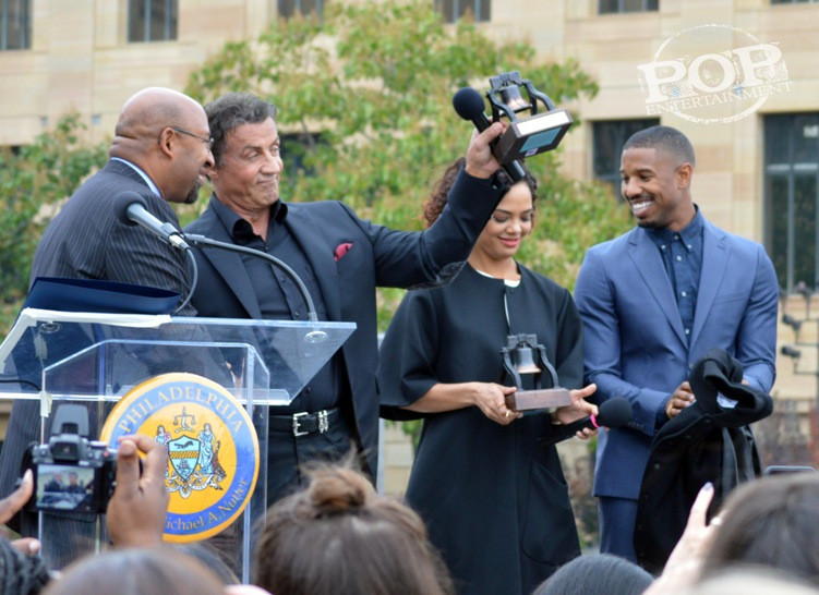 "Mayor Michael Nutter,  Sylvester Stallone, Tessa Thompson and Michael B. Jordan at the Philadelphia press conference for ""Creed"" on the steps of the Philadelphia Museum of Art. Photo copyright 2015 Deborah Wagner."