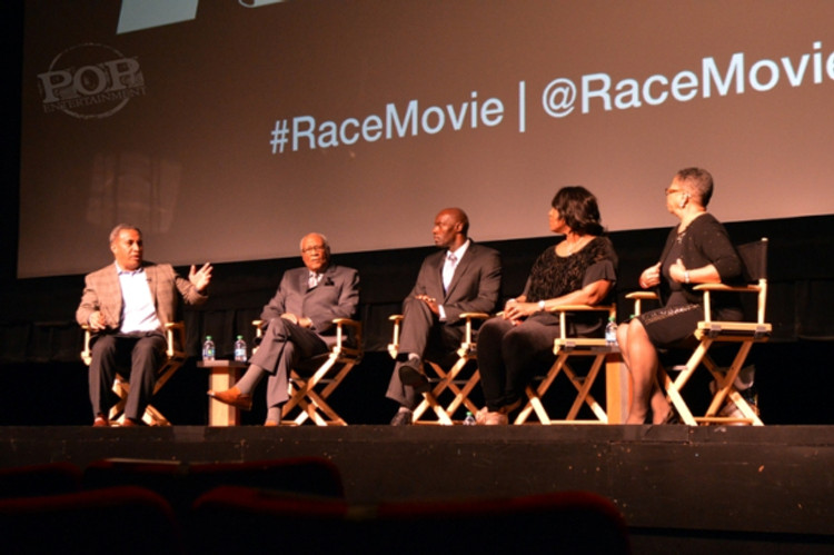 Football player turned WCAU-10 Philadelphia Sportscaster Vai Sikahema, Olympic medalists Herb Douglas and Anthuan Maybank, Jesse Owens' granddaughter Gina Strachan and activist Sharmain Matlock-Turner at the Philadelphia premiere of Race at the Prince Music Theater - February 18, 2016.  Photo ©2016 Deborah Wagner.