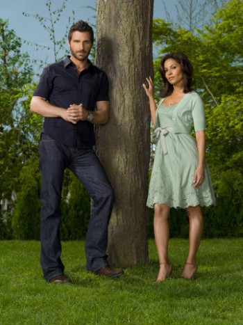 EUREKA -- Pictured: (l-r) Ed Quinn as Nathan Stark, Salli Richardson-Whitfield as Allison Blake -- SCI FI Channel Photo: Matthias Clammer