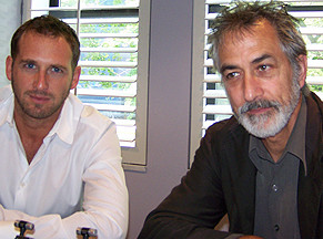"""Josh Lucas and David Strathairn at the New York press day for """"Trumbo."""""""