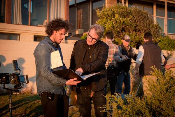 "Director Garth Davis and screenwrier Luke Davies on the set of ""Lion."""