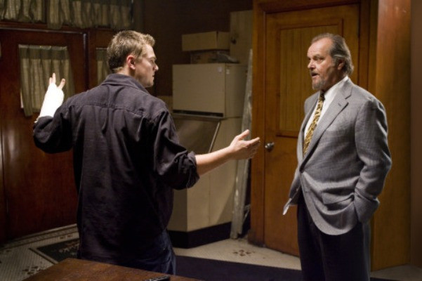 "Billy Costigan (LEONARDO DiCAPRIO) is interrogated by the powerful leader of Boston's Irish mob, Frank Costello (JACK NICHOLSON), in Warner Bros. Pictures' crime drama ""The Departed."""