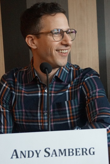 """Andy Samberg at the NY press day for """"Popstar: Never Stop Never Stopping."""""""