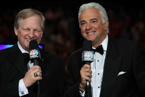 """NATIONAL DOG SHOW PRESENTED BY PURINA -- """"The 12th Annual Nation Dog Show Presented by Purina"""" in Philadelphia, PA 2013 -- Pictured: David Frei and John O'Hurley -- (Photo by: Bill McCay/NBC)"""
